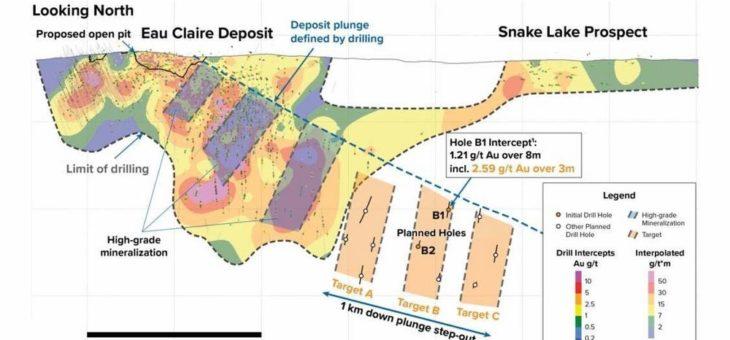 Fury durchschneidet goldhaltige Struktur 660 Meter lochabwärts auf Eau Claire und nimmt zweites Bohrgerät für Explorationsprogramm in Betrieb