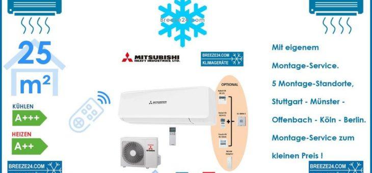 MITSUBISHI HEAVY Klimaanlage Set SRK 25 ZS-W Wandgerät + SRC 25 ZS-W R32 – 2,5 KW für 1 Zimmer mit 25 m²