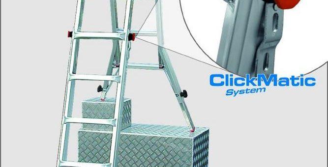 Sicher und komfortabel arbeiten – sogar auf Treppen und Absätzen – mit dem ClickMatic-System von KRAUSE