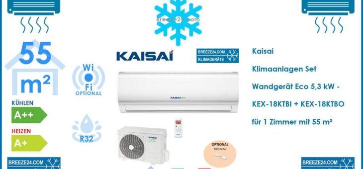Kaisai Klimaanlagen Set Wandgerät Eco 5,3 kW – KEX-18KTBI + KEX-18KTBO R32 für 1 Zimmer mit 55 m²