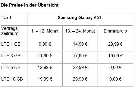 Preissturz bei yourfone von bis zu 40 Prozent: Das Samsung Galaxy A51 mit LTE-Tarif ab 9,99 Euro monatlich