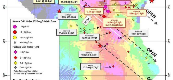 Bohrung auf Spargos Reward erweitert hochgradigen Goldausläufer auf über 300 Meter in der Tiefe mit einem Abschnitt von 6,1 g/t über 14 Meter als Ressourcendefinitionsbohrung im Vorfeld des Ressourcen-Updates