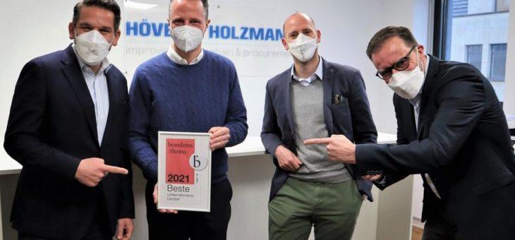 Beste Berater 2021: HÖVELER HOLZMANN zum dritten Mal in Folge von brand eins und Statista ausgezeichnet