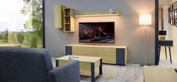 TV-Lowboard mit Edelstahl-Säule für Smart-TVs bis 65″