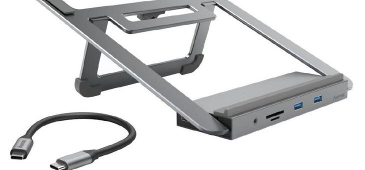 12in1-USB-C-Docking-Station mit Notebook-Stand
