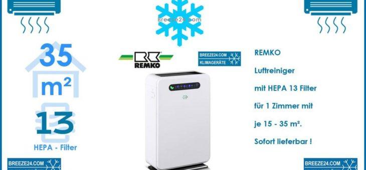 Remko LRM 350 Luftreiniger mit HEPA 13 Filter für 1 Zimmer mit 15 – 35 m²