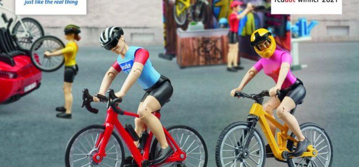 Red Dot Product Design Award für BRUDER Mountainbikerin und Rennradfahrer