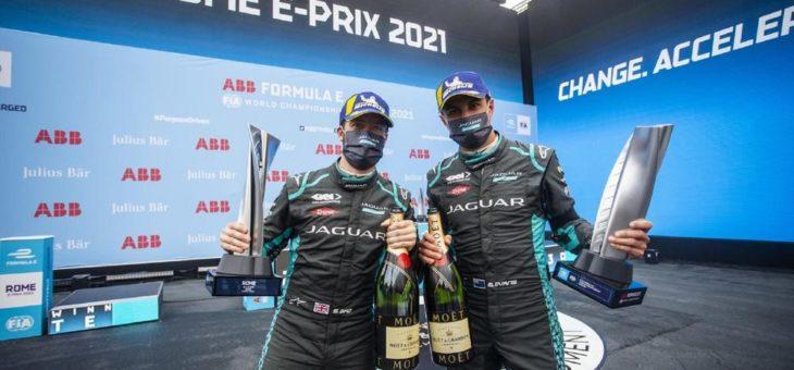 Doppeltes Podium für Jaguar Racing in Rom und Spitzenreiter in der Team- und Fahrer-Wertung der ABB FIA Formel E-WM