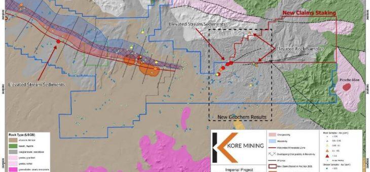 Kore Mining entdeckt Gold in trockenen Bachbetten auf neu abgestecktem Grundstück zwischen den Lagerstätten Imperial und Picacho